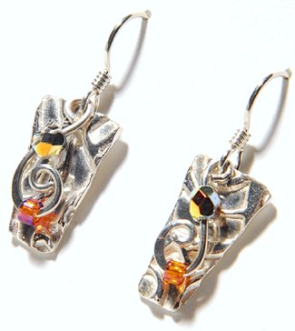 """Silver and Crystals"" earrings by Sally Evans"