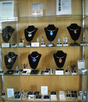 Jewelry on display in the library case