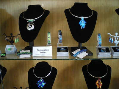 Closeup of jewelry displays in the library case