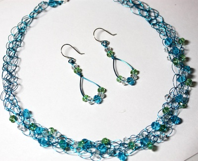Crochet wire necklace and earrings set