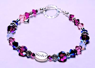 I made this bracelet bigger and used larger crystal for more bling power.