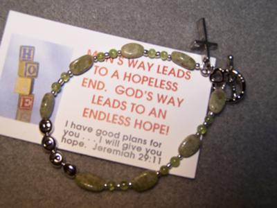 Inspirational gemstone bracelet with inspirational bookmark card
