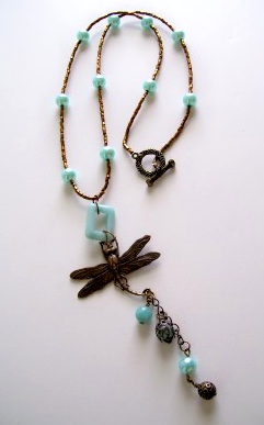Vintage Pearl Dragonfly Necklace by Anita Foley
