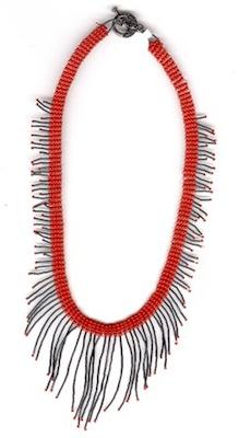 Red brick stitch necklace