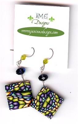 Stained glass pattern polymer clay earrings