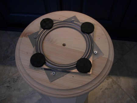 Detail of the lazy susan mechanism. Measure carefully to center it on the base so your display will rotate evenly.