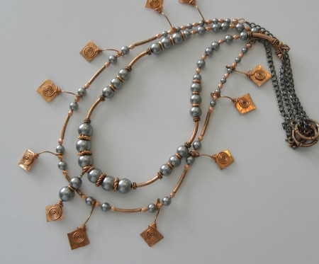Swarovski Pearls and copper