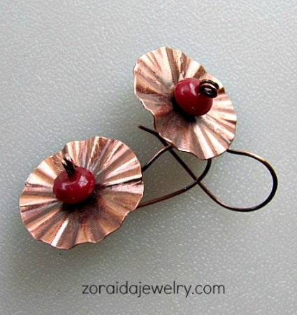 Flower Disk Earrings with Red Jade Bead