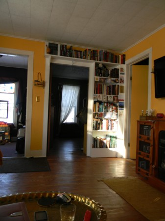 View of the bookshelves and the new doorway from my Livingroom into the shop.