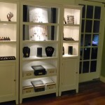 The wall of displays with a peek at the French door I mentioned