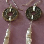 Ancient coin earrings, created with bronze Chinese coins from around the year 1000 A.D. - paired with rustic stick pearls