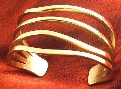 Solid metal bronze cuff bracelet