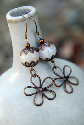Bamboo Leaf Daisy Earrings