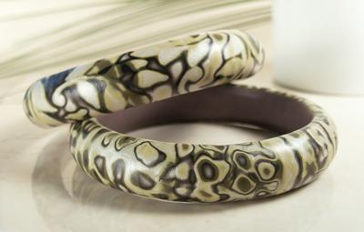 Bangle Bracelets in Yellow Green Camo Design