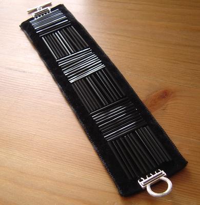 Black bugle beads on velvet ribbon base by Laura Toal