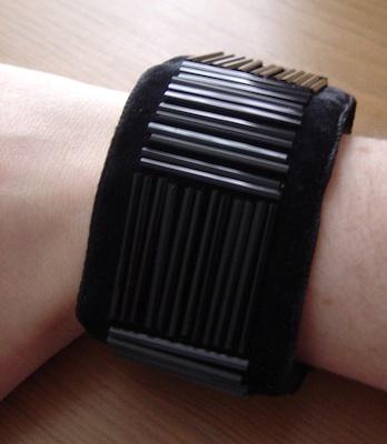 Long black bugle beads on black velvet by Laura Toal