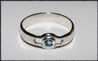 Blue Topaz Bezel Ring with Cutouts
