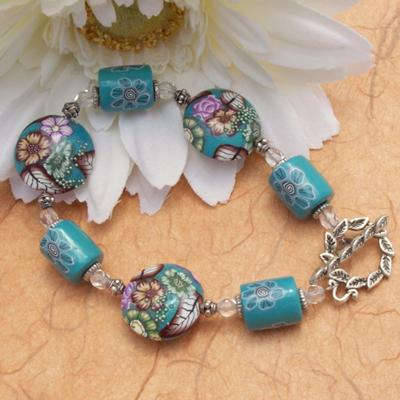 Bracelet with Handmade Polymer Clay Beads