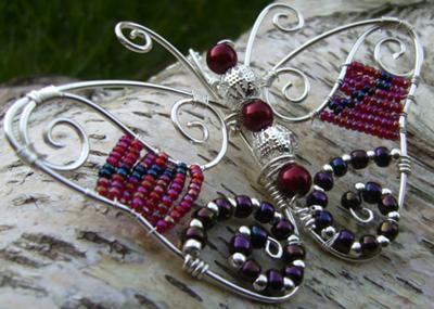 Silver Burgundy Spiral Butterfly
