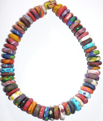 Fimo clay necklace - a rainbow of handmade beads