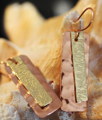 Copper and Brass Textured Earrings