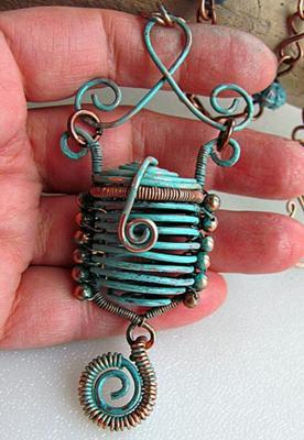 Copper Basket Necklace