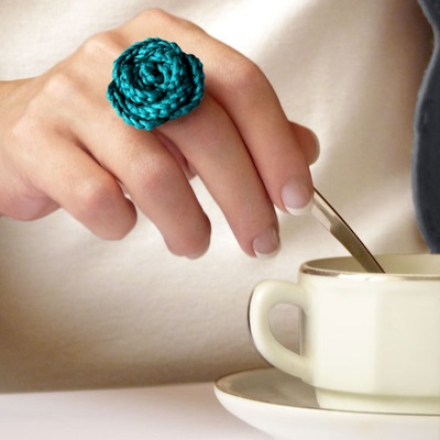 Crochet Rose Necklace and Ring from France