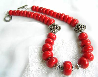 The RED GODDESS, Necklace. Big Red Coral Gemstone, Java Beads, Sterling Silver big toggle. This necklace had been SOLD. (Photo by Ross T Nugroho).