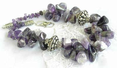 QUEEN AYEESCHA, Necklace. Rare size Amethyst Chunk, with Java Beads and Sterling Silver closure. (Photo by Ross T Nugroho)