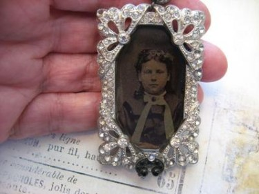 Fab Repurposed Deco Buckle and Tintype Photo Brooch