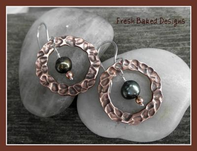 textured copper washers and fresh water pearls