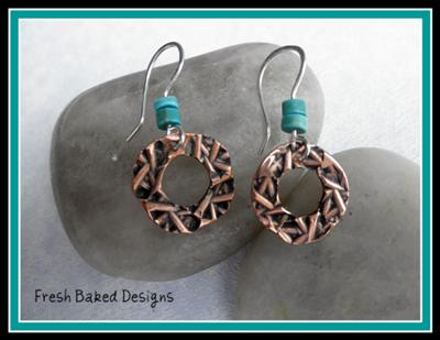 Finished Textured Copper Earrings