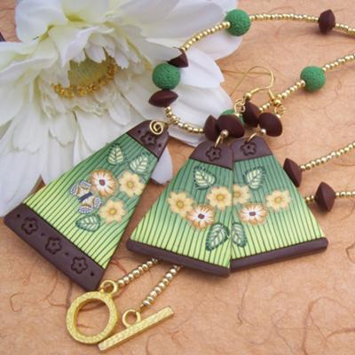 Flowers and Butterfly Necklace and Earrings, by CAG