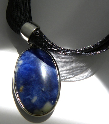 Closeup of sodalite necklace