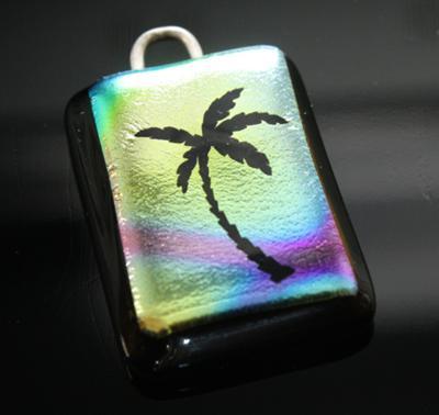Fused dichroic palm pendant