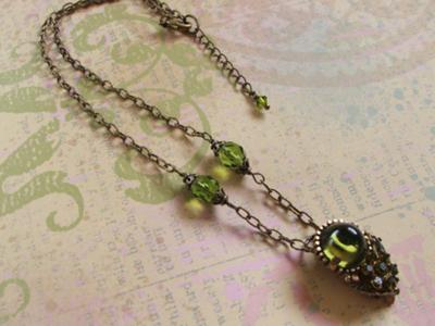 Vintage clip earring transformed into a necklace