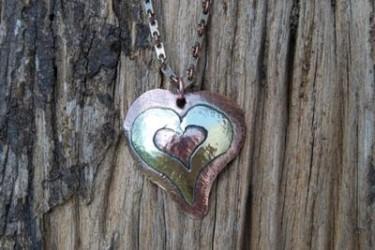 Brass copper hammered Pendant
