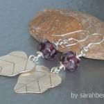 Hill Tribe Sterling Silver Leaf with Purple Lampwork Glass Earrings