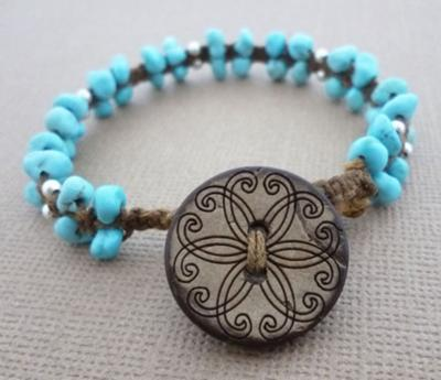Waxed Linen and Turquoise Beaded Macrame Bracelet by Michelle Buettner