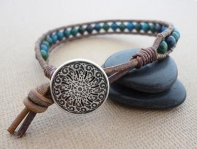 Leather and Chrysoprace Wrap Bracelet by Michelle Buettner
