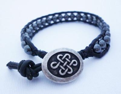 Leather and Hematite Beaded Wrap Bracelet by Michelle Buettner