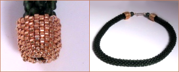 Left: Jewelry end cap, handmade using Peyote stitch and Delica beads. Right: A bead croched necklace I made using these endcaps.