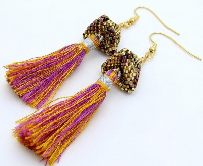 Beaded pyramid earrings with silk tassels by Diana Redlin