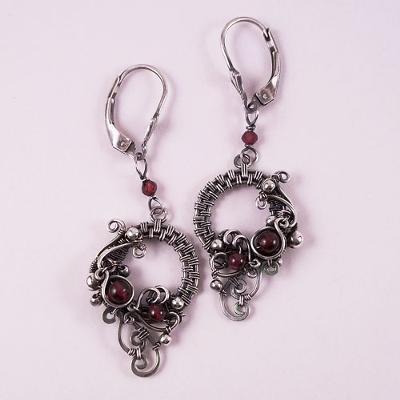 Memory's Mirror Earrings In Sterling Silver and Garnet