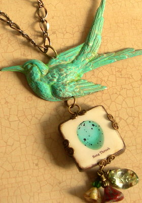Patina Bird Necklace with Nest Egg