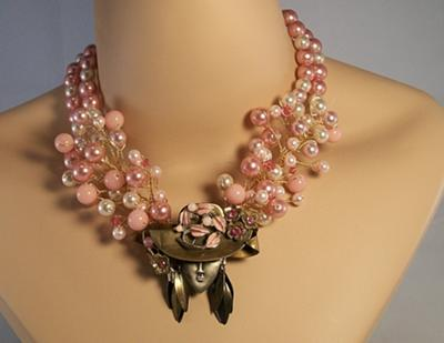 Pink Wire Necklace with Vintage Hat Pendant