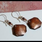 """Purple Cabbage"" Etched Copper Earrings"