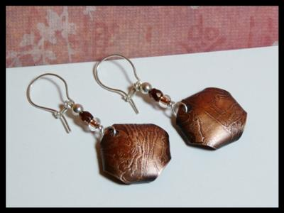 """""""Purple Cabbage"""" Etched Copper Earrings"""