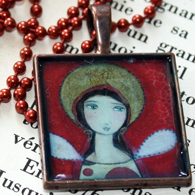 Red Angel – Resin Copper Pendant with Print from Original Painting