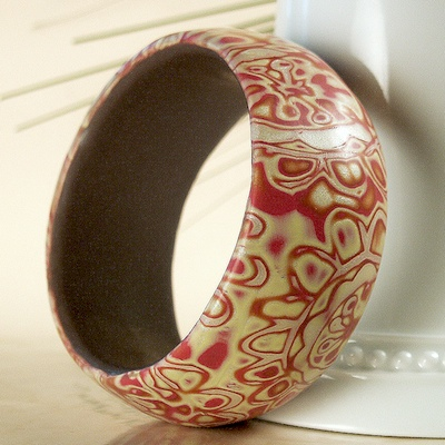 Red Paisley Flower Bangle Bracelet
